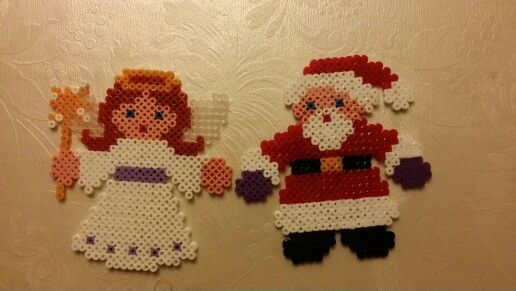 #Christmas #hama #perler #pearlbeads #creative #hobby #santa #angel
