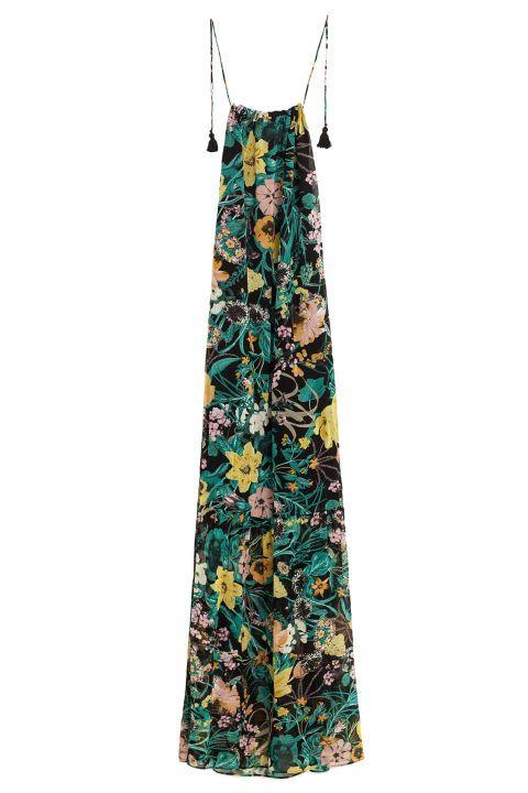 Zara Long Printed Dress, $70; zara.com Tropical maxi dress with tassels. Great for a destination wedding.