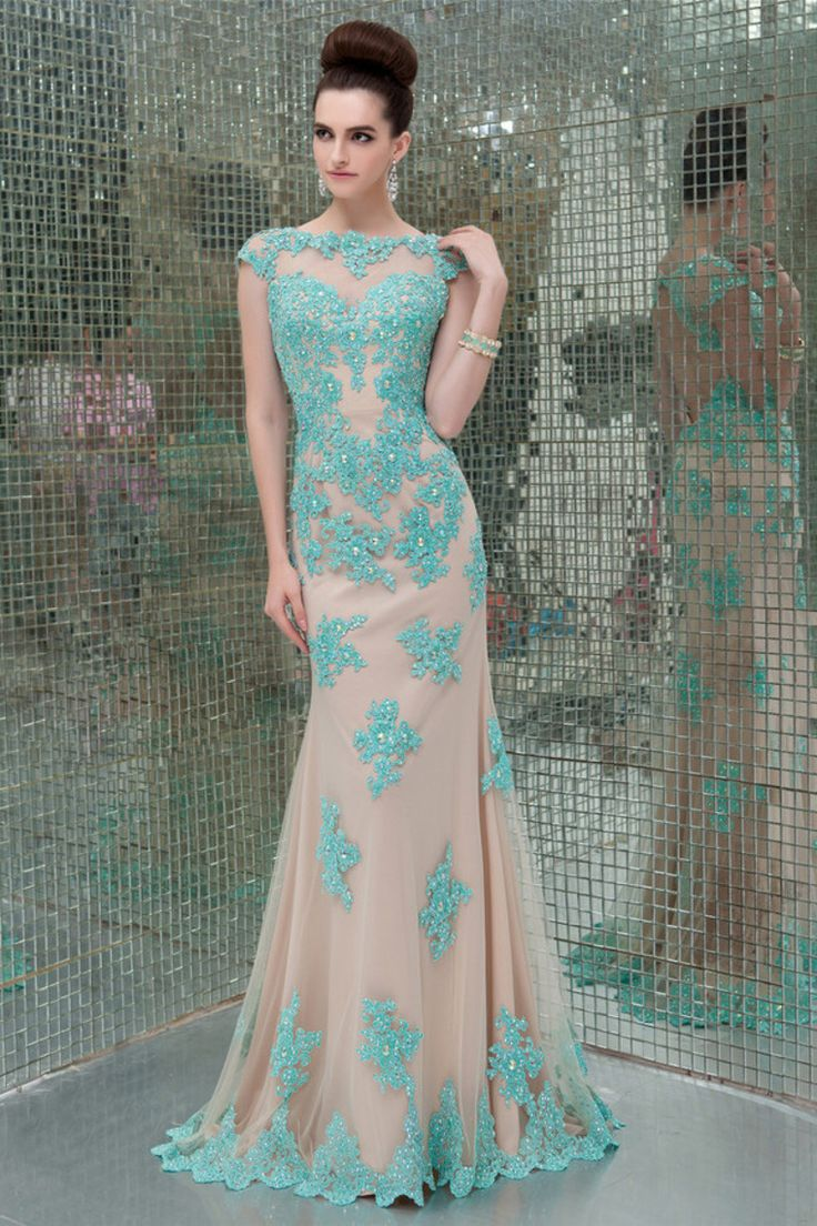 2014 Mesh Illusion Scoop Neckline Cap Sleeve Prom Dress With Beads And Applique
