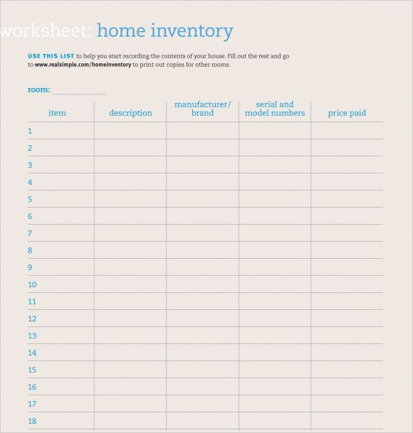 10+ Home Inventory Templates Free Printable Excel, Word  PDF