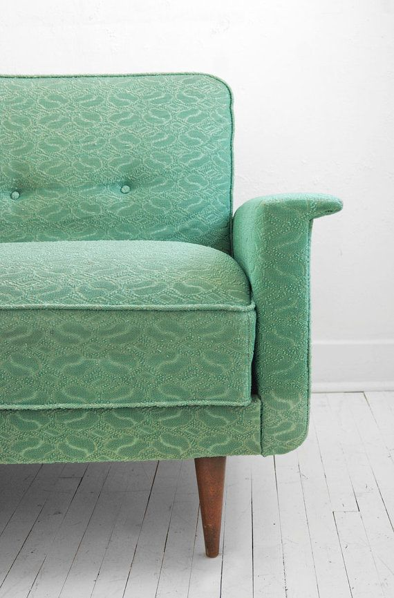 On Hold Until April 26th Vintage Sea Foam Green Sofa Couch Mid Century Modern Retro