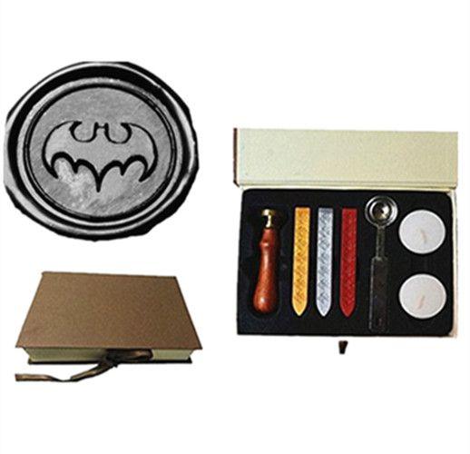 Vintage Batman Bat Custom Foto Logo Huwelijksuitnodiging Lakzegel Afdichting Stamp Sticks Smelten Lepel geschenkdoos Set Kit
