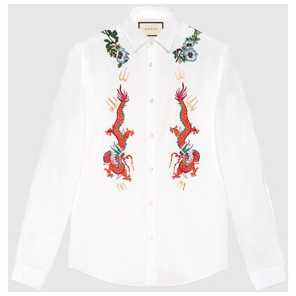 Gucci Cotton Duke Shirt With Embroidery ($935) ❤ liked on Polyvore featuring men's fashion, men's clothing, men's shirts, men's casual shirts, gucci mens shirts, men's flower print shirt, mens floral print shirts and mens floral shirts