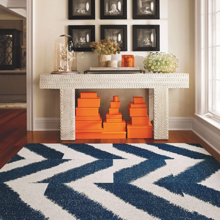 contrast on the color wheel: Orange/blue.: Carpets Tile, Chevron Patterns, Colors Combos, Orange, Hermes, Home Ideas, Blue, Colors Wheels, Chevron Rugs
