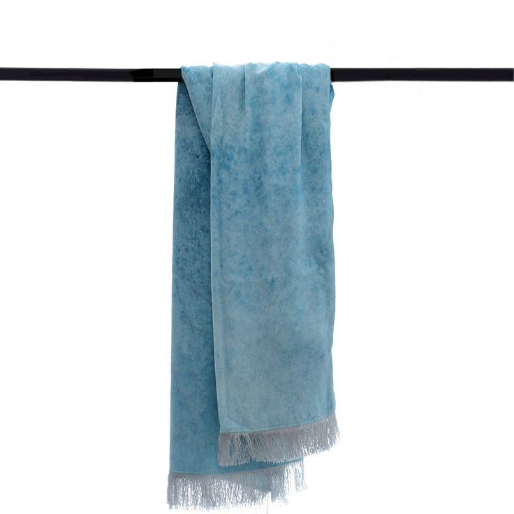 blue water print 100% silk 140 x 218cm with tassel fringe detailing made in New Zealand
