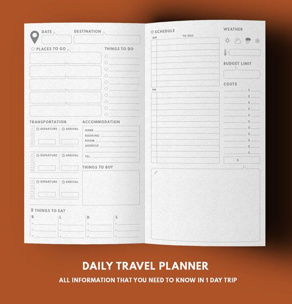 Travel Planner ▹ for Midori Travelers notebook Regular size Printable Are you ready to explore the world! Let this complete pack of travel planner help you track all important activity in your trip!  Pages ▹ Cover ▹ Thing to know about page + Packing list/Budget limit page ▹ World map & Calendar pages (1-5 weeks) ▹ Daily planner & Schedule page ▹ Notes page  Less is more I always love a big blank planner because therere a lot of room for put many important thing in it Simple style and…
