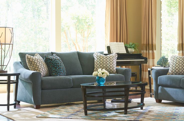La-Z-Boy Keller Sofa | This sofa features elegant sloped arms and warm wood feet that complement a range of fabrics. | Plus, PIN TO WIN an ottoman! Get contest details at http://houseandhome.com/la-z-boy | #LaZBoy #Sofa #LivingRoom #Furniture