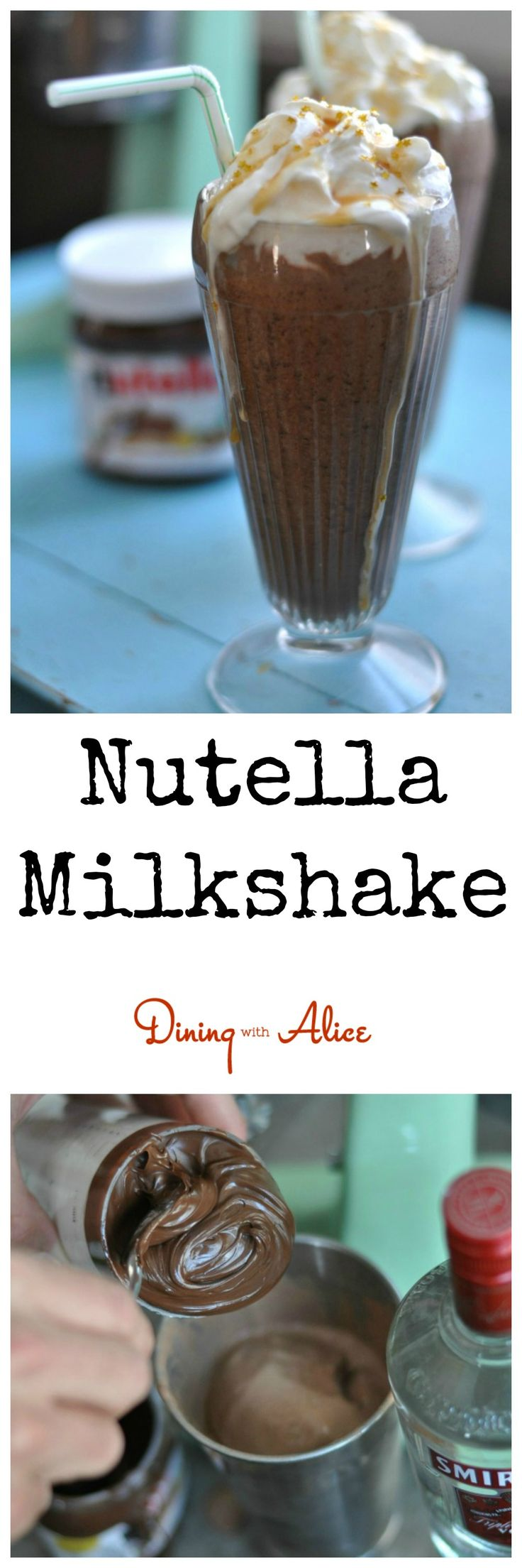 Nutella Milkshake Recipe here: http://diningwithalice.com/desserts/nutella-milkshake/ #nutella #milkshake