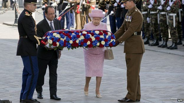 bbc:   Queen Elizabeth and President Francois Hollande laid a wreath at France's tomb of the unknown soldier, June 5, 2014