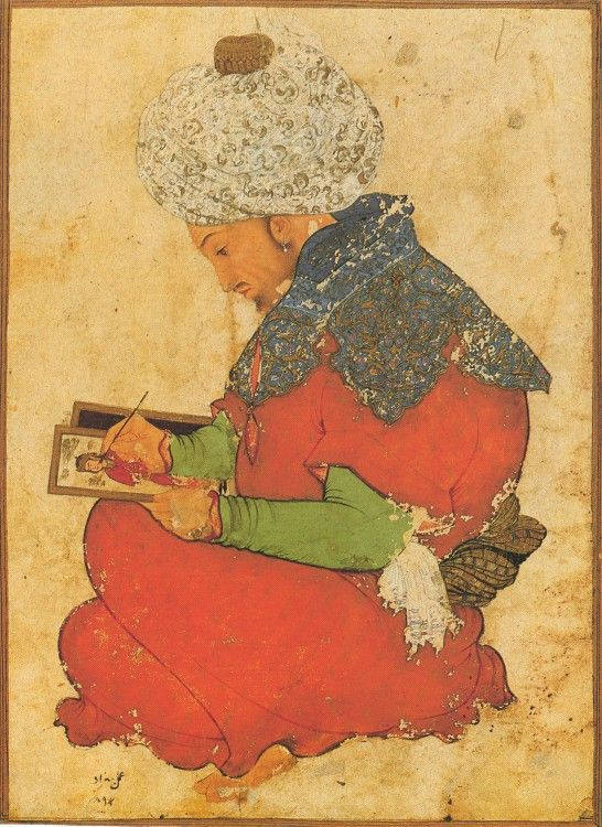 Persian (Safavid), Seated Artist, about 1600. Watercolor with gold on paper, 20x14.4 cm. Dar al-Athar al-Islamiyyah at the Kuwait National Museum, Kuwait