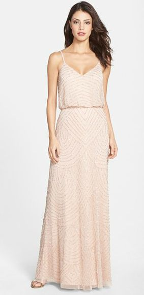 Love! Blush beaded gown | bridesmaids
