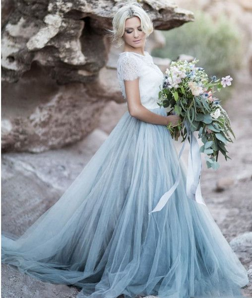 Light Blue prom Gown White Lace Sheer Detachable Jacket Crop Top Short Sleeves Tulle A-line Two Toned Bridal Dress Colored Bride Gowns