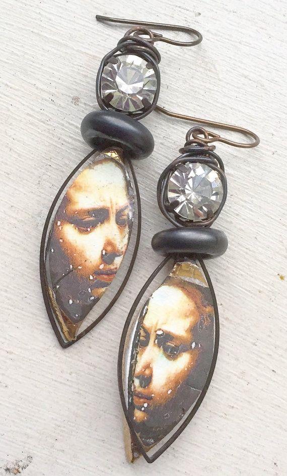Ceramic decal caravaggio earrings, lampwork earrings, gift for her, uk shop, statement earrings