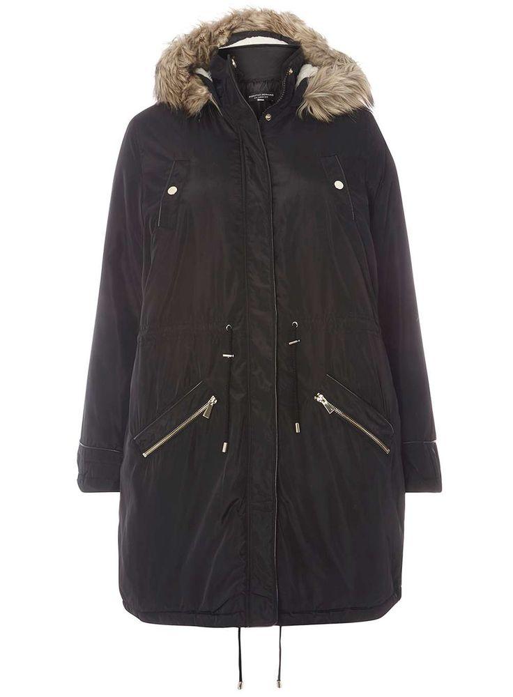 Womens DP Curve Plus Size Black Faux Fur Parka Coat- Black