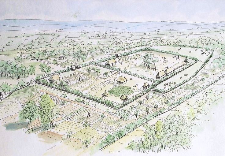Restitution of a pen farm in northern Gaul at the end of the Iron Age by Jean-Claude Blanchet