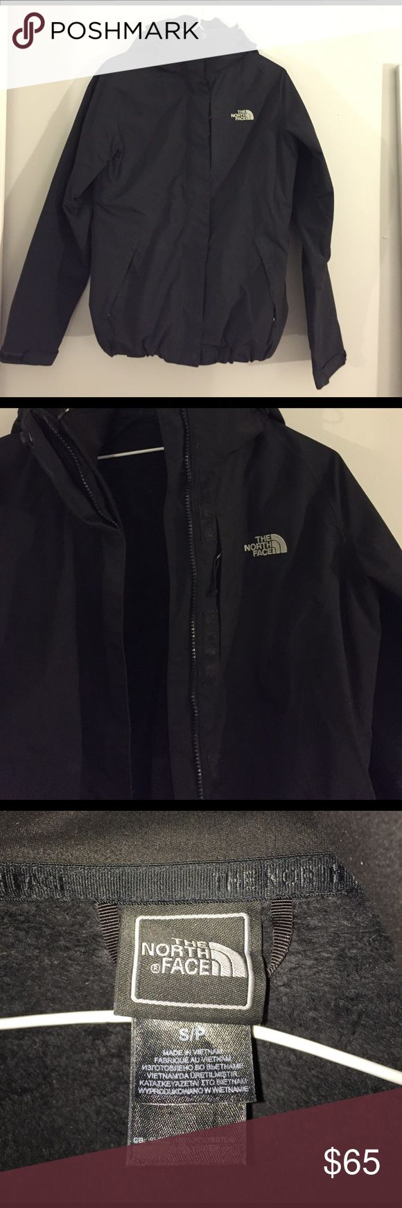 North Face jacket Black north face. Can be a winter jacket with the warm zip in lining on the inside, or a windbreaker/rain coat and can take out the inside zip in jacket. Worn, but in great condition. No flaws! lululemon athletica Jackets & Coats