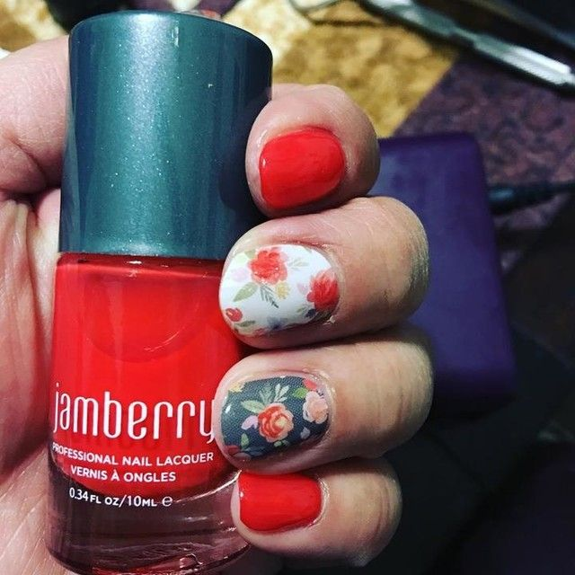 She's Lovely Jamberery nail wrap and Former Flame Lacquer--beautiful! #nailart #shopping #nail #nails #nailsalons #naildesign #naildesigns #nailproducts #nailproductsupplier #beautytrends #pamperyourself