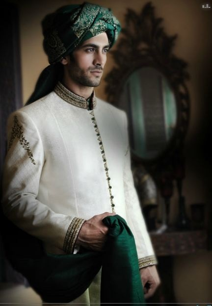 So refreshing to see a green on a sherwani! ---- #indian #groom