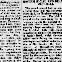 """The Club's 2nd annual ball. Costumes of note: """". B. Stanway, Captain of Hussrs"""" North Melbourne Advertiser, 7 Nov 1884, p. 3, 'Hotham social and dramatic club'."""
