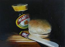 """MARMITE AND ROLL STILL LIFE OIL DAILY PAINTING 5X7"""" S MORTIMER SM"""