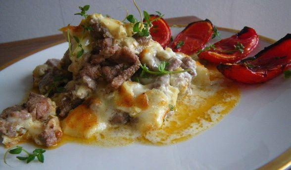 Rezept: Gratiniertes Gyros mit Graviera-Käse  Griechische Küche in zeitgemäßem Gewand | LCHF | Low Carb