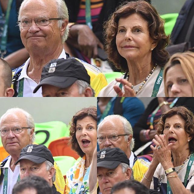 08/15/2016: Queen Silvia and King Carl Gustaf arrived in Rio de Janeiro, Brazil for the Olympics today. They both watched the men's preliminary handball match between Sweden and Brazil 🇸🇪🇧🇷 #kungcarlgustaf #kingcarlgustaf #kingcarlgustafofsweden #drottningsilvia #queensilvia #queensilviaofsweden #kungahuset #sverigeskungahus #kungafamiljen