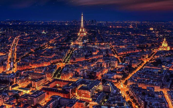 Lataa kuva yö Pariisissa, kaupungin panorama, valot Pariisin, yö, illalla, Eiffel-Torni, kaduilla, Pariisi, Ranska