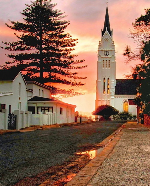Bredasdorp, South Africa. A Dutch Reformed Church is the centre point of every small town in South Africa.