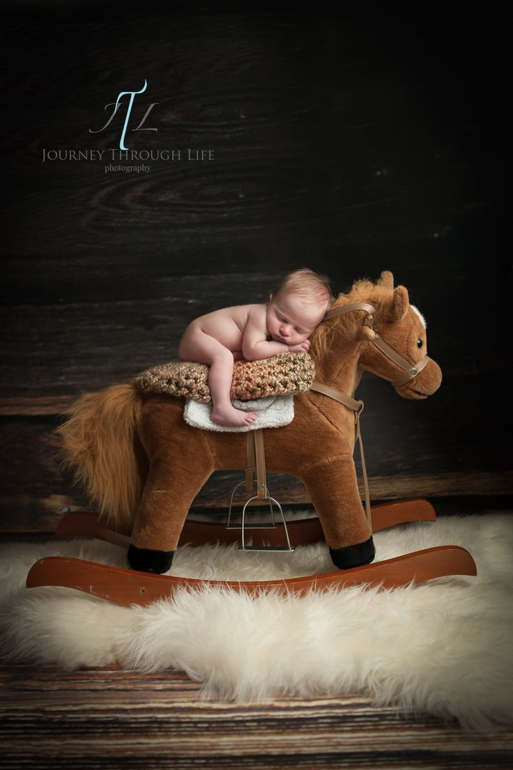 5 day old newborn baby boy cowboy on rocking horse.  composite shot.  Chesapeake Newborn Photographer www.JourneyThroughLifePhotography.com