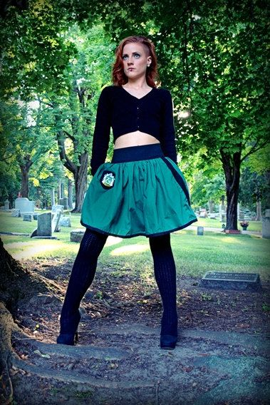 Slytherin Mini Skirt - Black Elastic Waist with Patch and Wand Pocket - s/m or l/xl - MADE TO ORDER on Etsy, $49.99