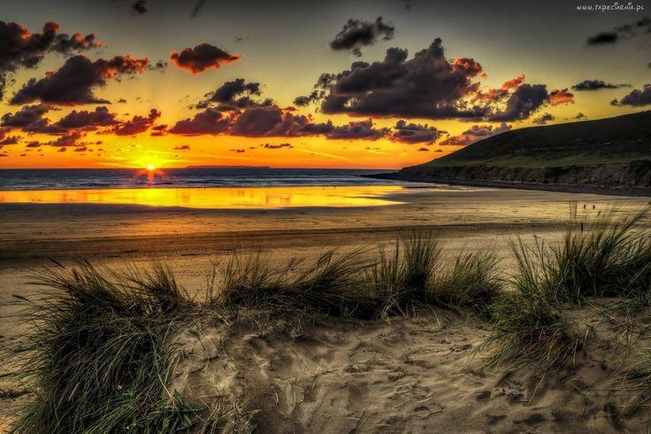 Ocean, Chmury, Plaża, Zachód, Słońca