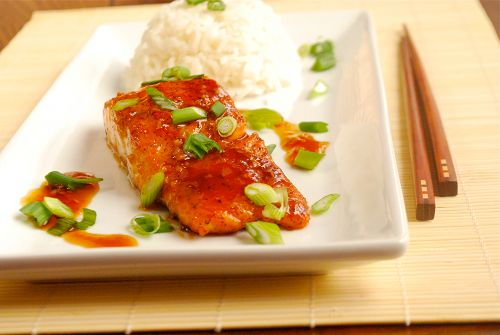 Salmon Teriyaki...I made it tonight but halved the sugar and increased the amount of ginger and garlic.  Did not panfry, but baked at 425 for 11 minutes. Ate it with edamame brown rice.  Remember for the future.