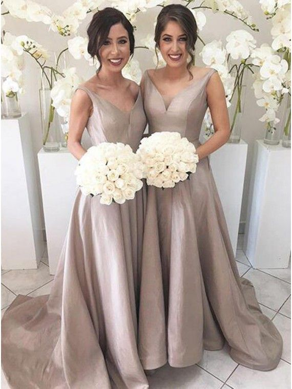 Simple V-Neck Sleeveless High Low Sweep Train Silver Bridesmaid Dress