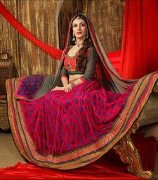 Buy Red Embroidered net unstitched lehenga-choli ghagra-choli online