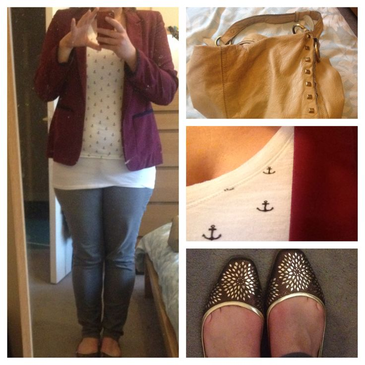 Casual family occasion outfit: blazer from Penneys, anchor print tee from H&M, grey skinnies from Levi's Curve, Maya flats from Jimmy Choo, studded bag from River Island.    ciaraspillsthings.wordpress.com
