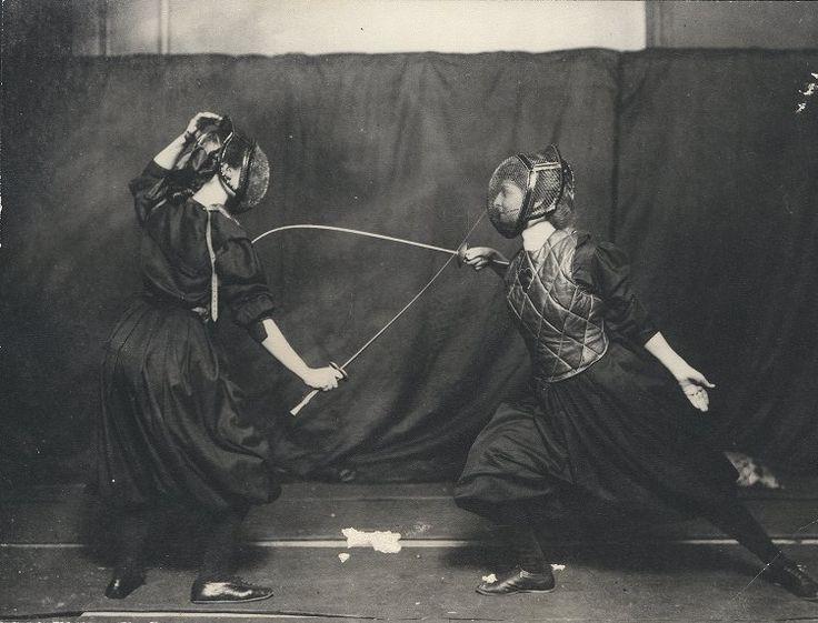 "babesinarmor: "" ""Two Edwardian women fencing, 1908."" """