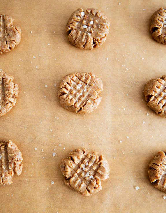 Salted Peanut Butter Cookies from A House In The Hills. Made simply and naturally with almonds, peanut butter, dates, vanilla and a little sea salt. Vegan, gluten free and raw.