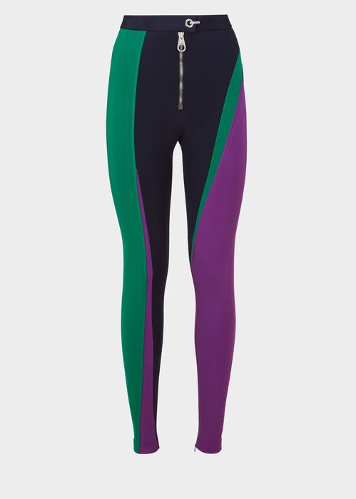 Versace Compact Jersey Color Curve Leggings for Women | Official Website. Stretch compact jersey Color Curve leggings with metal zip closure infuse a sporty touch of to any look.