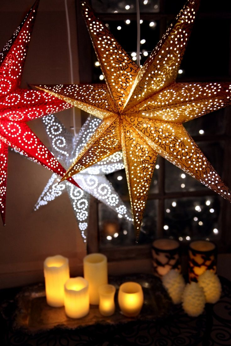 Papiersterne Weihnachtsbeleuchtung.Best Season Papierstern Antique Ca 60 Cm ø Incl 3 5m Kabel