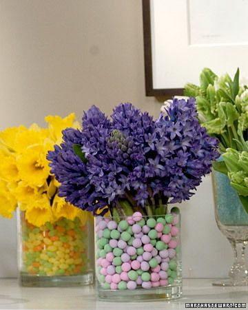 Candy and Flower Arrangements--candies such as jelly beans hold these cut flowers in place.