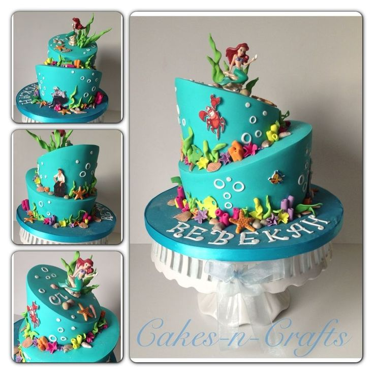 Topsy turvy little mermaid cake. A toy ariel was purchased from Disney and characters were printed and placed around the tiers