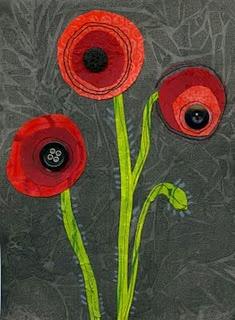 mixed media poppies