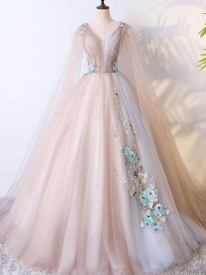 7490240c82a A Line Tulle Khaki Embroidery Appliqued Prom Dresses Cape Sleeve Evening  Ball Gowns