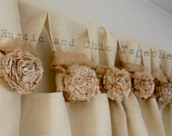 Té de cortinas de arpillera teñida rosetones  amplia Tabs