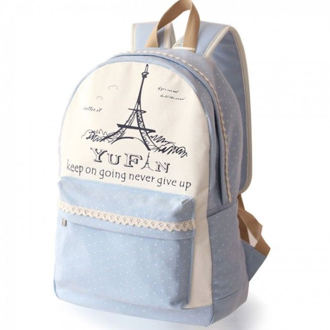 Finally! I found the Fresh Lace Polka Dots School Rucksack Eiffel Tower College Canvas Backpack  from ByGoods.com. I like it so so much!