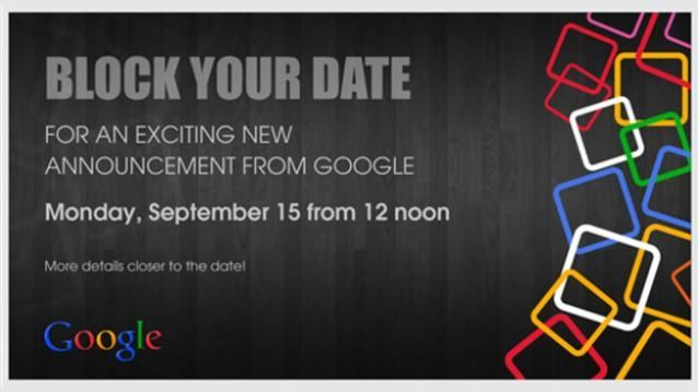Google's invitations for September 15th event