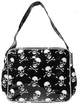Skulls Diaper Bag With Huge Attitude by FarOutSprouts on Etsy, $42.00: Skull Diapers, Yer Skull, Baby Boys, Baby Theo, Baby Apparel, Sourpuss Clothing, Baby Stuff, Goth Diapers Bags, Baby Dino