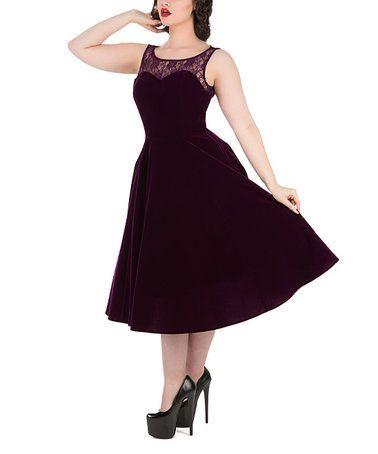 Purple Lace-Yoke Dress - Plus Too #zulily #zulilyfinds