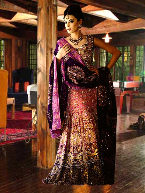 Intricate Zardosi and Resham Silk Hand-Embroidery On Pure Tissue Tone-Dyed Lehenga with Exquisite Handworked Crepe Borders - Lehenga Skirt and Choli are Lined with Fine Satin
