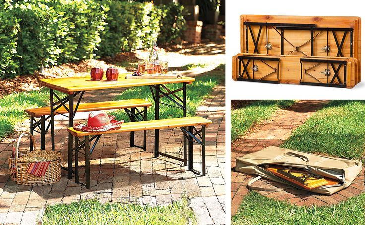 Portable table & bench set. Use it as a picnic table, take it to the beach or use it as a portable camping table.: Wood, Picnic Table